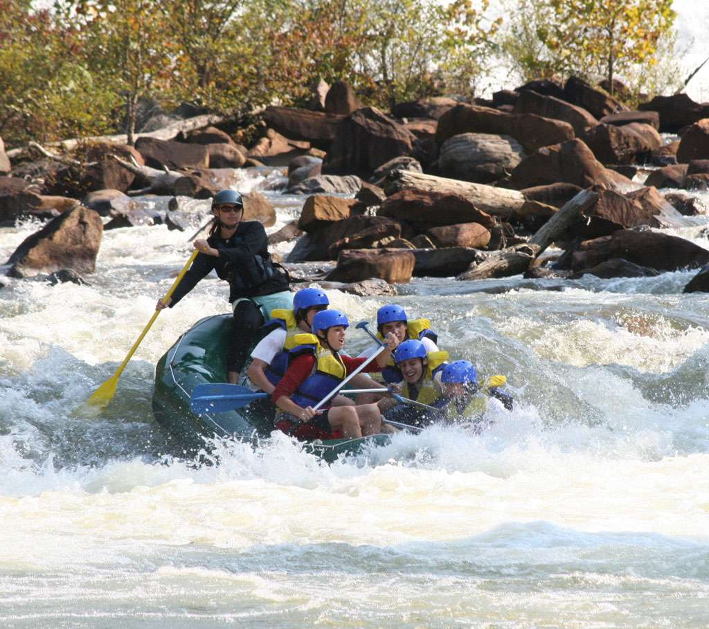 Rafting the Ocoee River in Tennessee. White water Rafting Grumpy's ledge on the Middle Ocoee.
