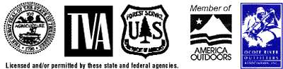 Licensed and permitted by: the State of Tennessee, TVA, America Outdoors