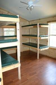 A bunk room in Raft One's bunkhouse.