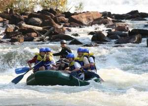 Put in rapid of the middle Ocoee white water rafting trip.
