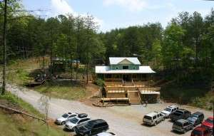 Raft One's new outpost as seen from our zipline course.