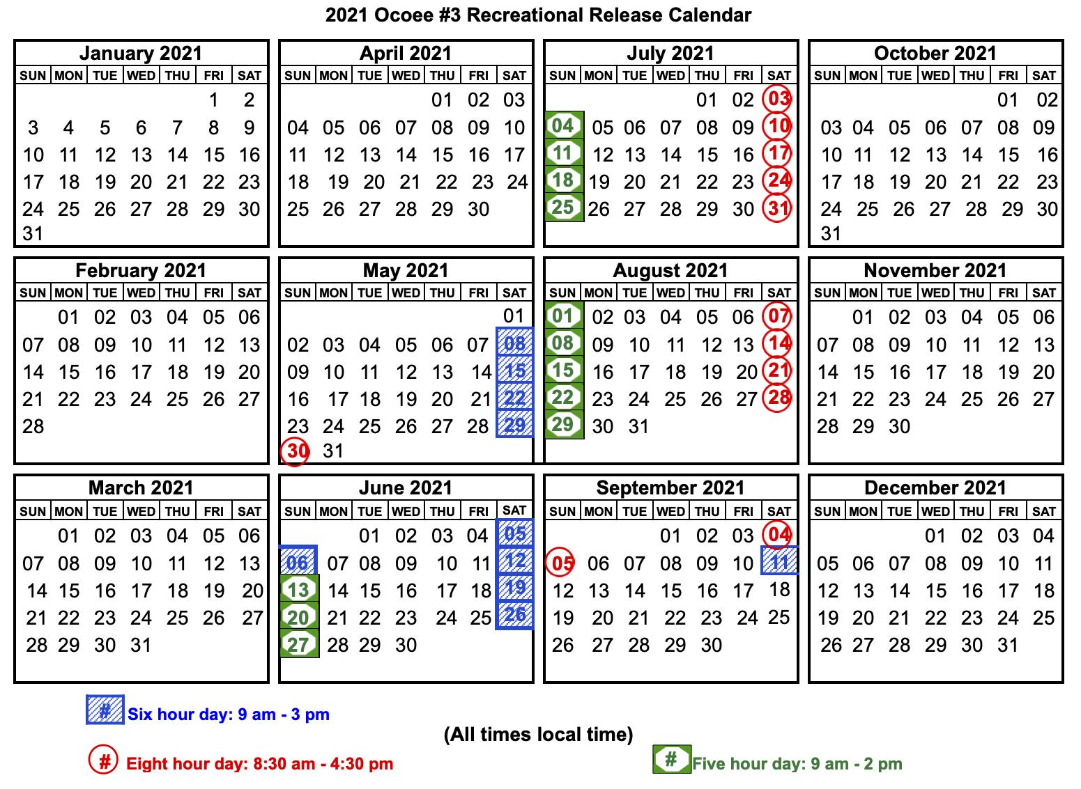Upper Ocoee Release Schedule